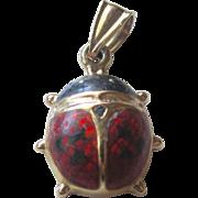 Vintage 14K YG Adorable Beetle Bug With Enamel Pendant