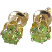 Darling Vintage 10K YG Peridot Stud Earrings