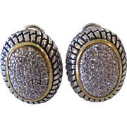 Beautiful Vintage Sterling Silver Oval Pave CZ Omega Backs Earrings