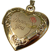 "Beautiful Vintage Gold Filled ""I Love You"" Heart Locket"