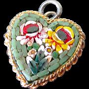Vintage Italian Micro-Mosaic Heart Pendant