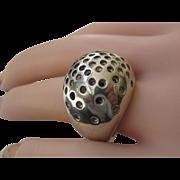 HUGE Vintage Solid Sterling Silver Domed Brutalist 50's Unisex Ring