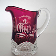 """""""Mother"""" Ruby Stained  Creamer Button Arches """"Atlantic City"""""""