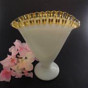 "Fenton Fan Vase Gold Crest 6 3/4"" Pre-Logo 1943-44"
