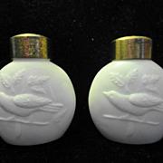 Antique THRUSH Bird Shakers White Opaque ca. 1890