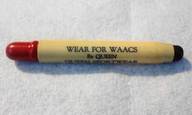 WWII WAAC Advertising Queen Sportwear for WAACS plastic bullet pencil