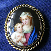 19th Century Hand Painted Porcelain Brooch