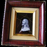 A Limoges Enamel Plaque of Christ by R Restoueix