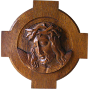 A French Wood Sculpted plaque of Christ Head