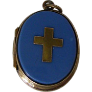 A French Brass and Opaline Glass Locket