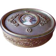 French Gilt Metal Trinket Box with Portrait