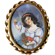 A Vintage French Hand Painted Portrait Brooch