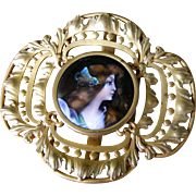 French Gilt Metal Belt Buckle with Limoges Round Enamel Plaque
