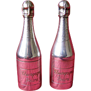 2 Novelty Silver Plated Champagne Bottle Pepper Mills