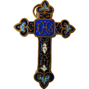 SOLD French Brass and Enamel small Cross