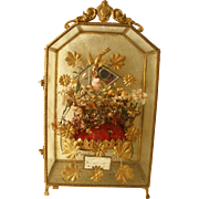 SOLD French Miniature Vitrine with Marriage Crown Cushion
