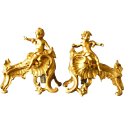 SOLD A Pair 19th Century French Gilt Bronze Cherub Chenets