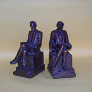A pair of heavy Abe lincoln clad bookends