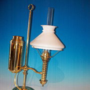 SALE Brass student lamp, American 19th century, probably NY mfgr.