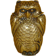 Brass Owl Matchsafe, probably Japanese