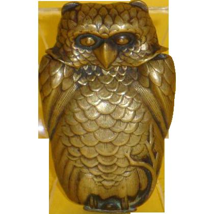 Brass Owl Matchsafe, probably Japanese