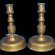 PR. of Bell Base Candlesticks, Dutch or Spanish.  c. 1670-1690