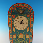 REDUCED Biscuit tin - HULTMANS - with integral clock