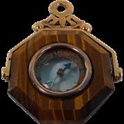 Gold Framed Tiger Eye Compass