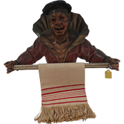 Very Well Carved Whimsical Figure of a Man Wearing a Cloak Towel Bar