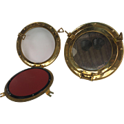 Pair of 12 Inch Italian Brass Port Holes / Mirrors