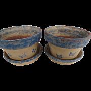 Pair of Redware Blue Sponge Decorated Flower Pots