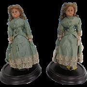 Pair of 16 inch Wax Head Dolls