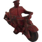 Hubley Cast Iron Motorcycle Cop Toy