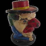 Rare Figural Cast Iron Clown Tobacco Jar