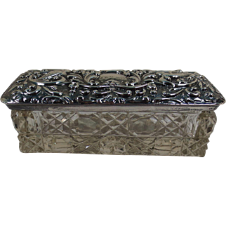 Small Rectangular Cut Glass Dresser Box with Silver Lid