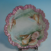 Limoges plate with shell motif & gilded border