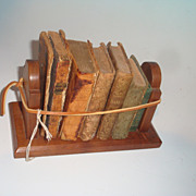 Set of 6 Miniature Leather Bound Books c/ Walnut Holder