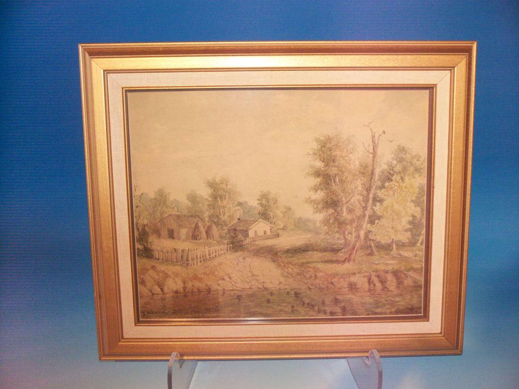 Very fine watercolor - Kentucky Farm Scene