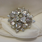 SALE Sparkling  Rhinestone Brooch With Hearts