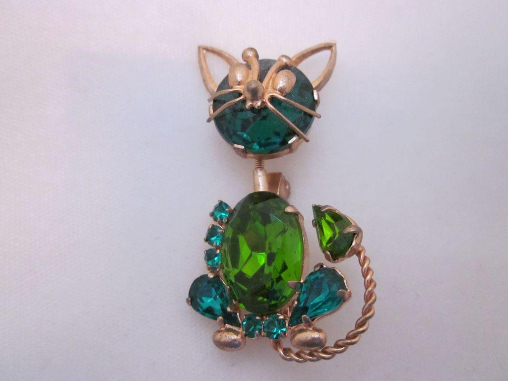 Sweet Retro Trembler Rhinestone Cat Brooch