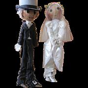 Very Unique Pair Of Francilaine Wedding Dolls, Bride & Groom 1980's