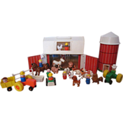 Sweet Fisher Price Little People ( some wooden ) Farm Set with Silo, Animals, People, Tractor etc.