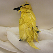 Unique Yellow Feathered Bird Pin