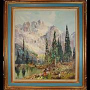 Vintage Landscape Painting Oil on Canvas, Ingfried Henze/ Paul Morro