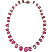 Antique Pink Tourmaline Riviere Necklace in Silver, Rare