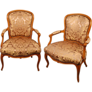 Pair  French Antique Armchairs  Fauteuils, Louis XV damask upholstery