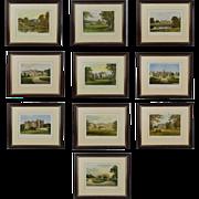 SALE Antique Series of 10 Prints featuring British Castles