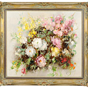 SOLD Vintage Impressionist Style Still Life Floral Painting, Paul Morro -Henze