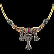 Antique Art Deco Gold Ruby Diamond Necklace