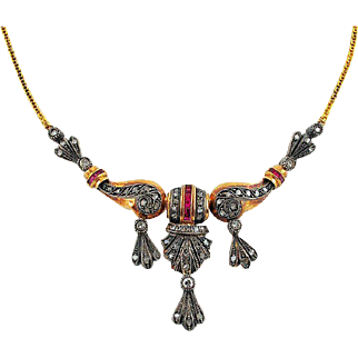 Antique Art Deco Gold Ruby Diamond Necklace